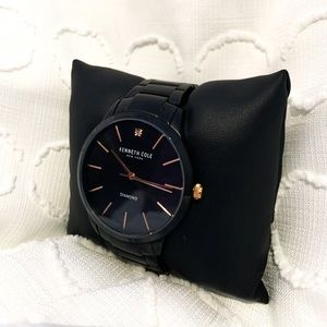 Kenneth Cole black and rose gold men's watch